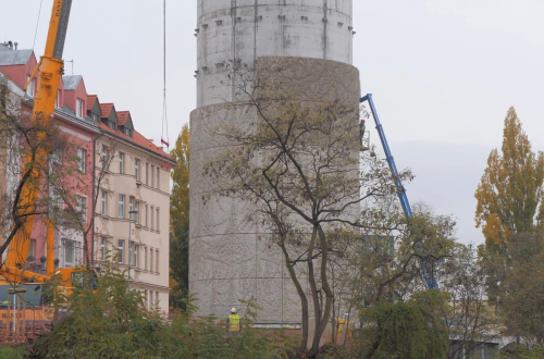 Image: Production & Installation of Art Relief on Blanka Tunnel Ventilation Shaft in Cooperation with Studio Federico Díaz